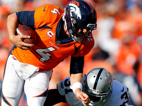 Keenum amped up after trucking Raiders defender on first-down run