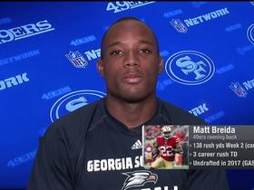 Matt Breida reacts to being the leading rusher in the NFL