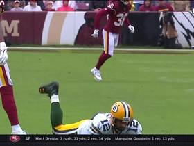 Rodgers throws a dart mid-tackle to Allison for first down