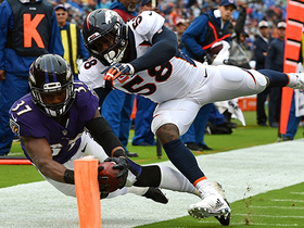 Allen stretches out towards the pylon for Ravens TD
