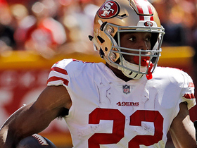 Matt Breida breaks free along sideline for major yardage