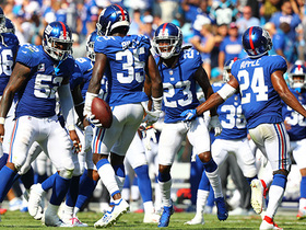 Curtis Riley reads Newton perfectly for INT in Giants' territory