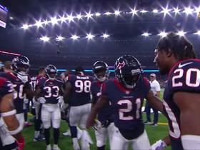 Justin Reid pumped up on sideline after interception