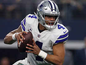 Dak runs for 28 yards after getting spun around in backfield