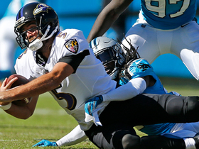 Donte Jackson sprints through untouched to sack Flacco