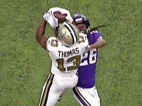 Michael Thomas leaps over Trae Waynes for 20-yard catch