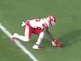 Damien Williams gets up to block Browns' punt