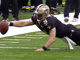 Drew Brees goes all out to dive for first-down marker