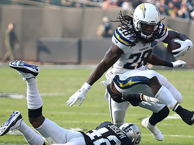 Melvin Gordon LEAPS over Karl Joseph