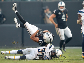 Seth Roberts gets flipped after 15-yard catch