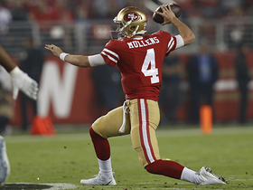Nick Mullens slings first-down pass from his knees
