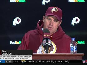 Jay Gruden reacts to Alex Smith's leg injury