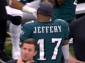Alshon Jeffery tosses helmet after Chris Banjo's INT