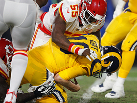 Chiefs' D swarms Goff to force game's first turnover