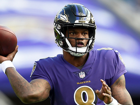 Lamar Jackson finds Crabtree for first pass of game