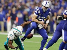 Wake's strip-sack of Luck is Colts' first sack allowed since Week 5