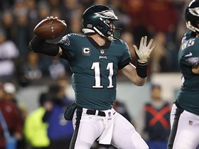 Wentz orchestrates scramble-drill touch pass to Tate for big pickup
