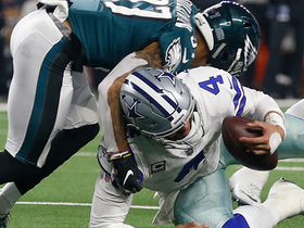 Dak loses control of low snap for costly loss of yards