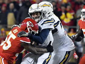 Dee Ford collapses pocket on Rivers for sack