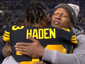 Ryan Shazier hugs Haden after INT