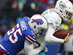 Jerry Hughes bulldozes through line to sack Tannehill