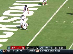 Minshew's first incompletion nearly goes for pick-six