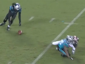 Donte Jackson recovers muffed punt after it pinballs off McCloud