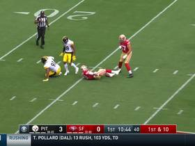 Stephon Tuitt bulldozes Jimmy G into turf for major sack