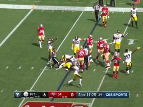 Bush falls on 49ers' fumbled snap for FOURTH turnover of first half
