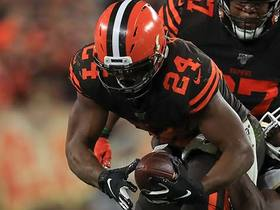 Chubb stuffed by Weddle on fourth-down attempt