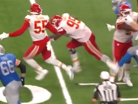 Chris Jones recovers fumble after slippery football gets away from Stafford