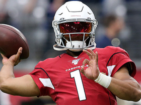 Kyler Murray slips by Jadeveon Clowney to throw sidearm strike to Sherfield