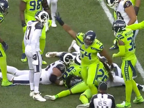 Clowney collects key red-zone turnover after RIPPING football from Gurley