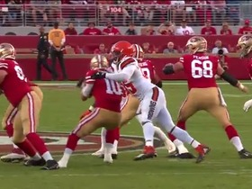 Myles Garrett clamps down on Jimmy G for key third-down sack