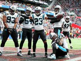 Javien Elliott dives for Panthers' second INT of the day