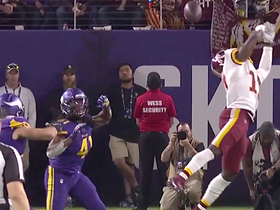 Haskins' throw sails over McLaurin for interception