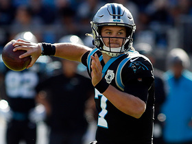 Kyle Allen steps up to fire sideline crossing route to Greg Olsen