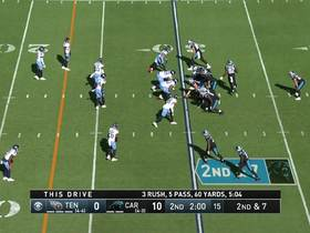 Kyle Allen SOMEHOW hangs on to ball after Sharif Finch's speedy sack