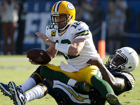 Melvin Ingram bursts into the backfield to drop Rodgers for huge loss on sack