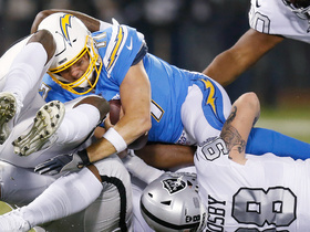 Raiders rookies collapse the pocket on Rivers for early sack