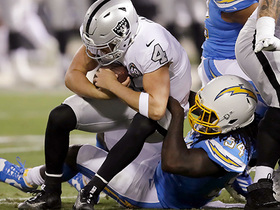 Melvin Ingram clamps down on Derek Carr for big sack