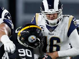 Swarm of black and yellow swallows Goff for Steelers' second sack