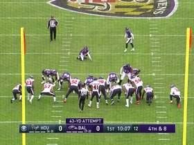 Justin Tucker's 43-yard FG try is no good after deflecting off the upright