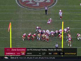 Cardinals regain lead with 43-yard field goal from Zane Gonzalez