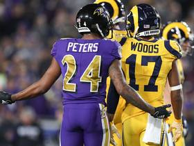Robert Woods jaws with Marcus Peters after beating him for 17-yard grab