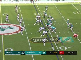 Derek Barnett breezes by Fins' OL for Philly's second sack