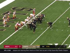 Niners stuff Saints' fly-sweep to Taysom Hill to deny two-point try