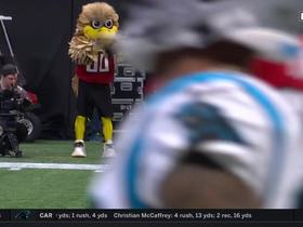 Ian Thomas' bobble turns Kyle Allen's perfect throw into Falcons INT