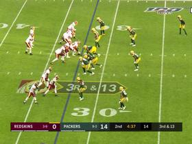 Haskins finds WIDE OPEN Kelvin Harmon to bring Redskins into the red zone.