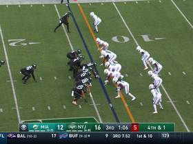 Dolphins stonewall Jets' fourth-down try in red zone